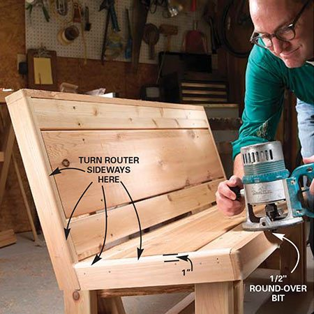 <b>Photo 12: Round the trim boards</b></br> <p>Ease the edges of the trim boards with a router and a 1/2-in. round-over bit. Hold the router sideways to get at the seat/back corner.</p>