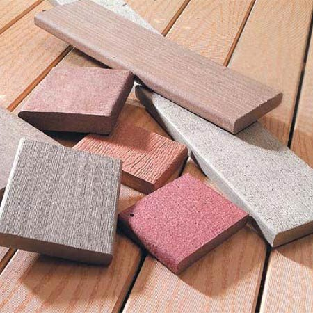 <b>Solid composites </b></br> Solid composites look and handle much like wood but resist rot and need less maintenance. They're available in a range of sizes, although 1-1/4 in. x 5-1/2 in. is most common. In sunlight, colors tend to fade toward light gray.