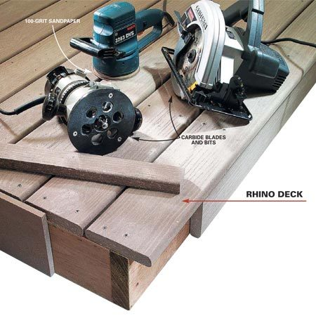 <b>Rhino Deck</b></br> Cut, shape and sand composites with regular woodworking tools. Use carbide blades.
