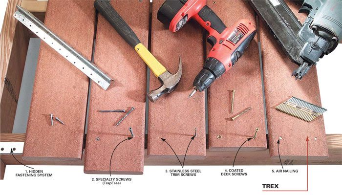 <b>Tools and fasteners</b></br> There are a myriad of fastening systems to choose from. From hidden fasteners to simple screws.