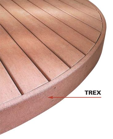 <b>Trex</b></br> Composites are flexible, offering cool design options for curved decks.