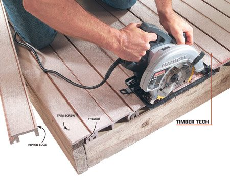 <b>Timber Tech</b></br> Most varieties require extra trim to cover the unsightly exposed ends. The last board may require reinforcement.
