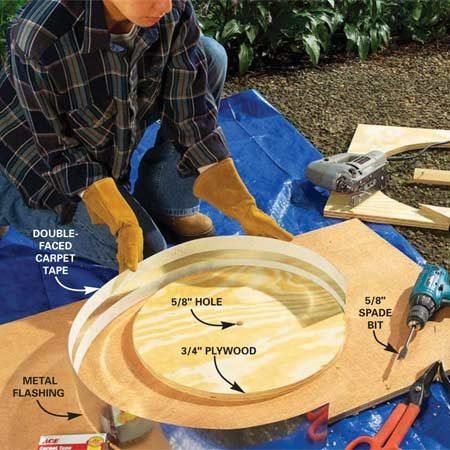 <b>Photo 1: Build the round form</b></br> Draw an 18-in. diameter circle on 3/4-in. plywood. Saw it out with a jigsaw. Drill a 5/8-in. hole in the center. Cut a 60-in. length of 4-in. wide galvanized metal flashing. Run a strip of double-faced carpet tape along the top and bottom edge. Then wrap the flashing around the plywood circle.