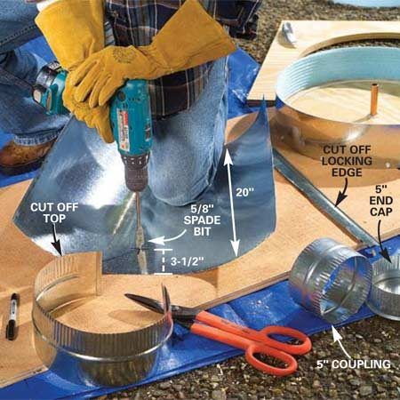 <b>Photo 4: Cut metal duct for the column form</b></br> Cut a 20-in. length of 8-in. round metal duct with a tin snips. Then cut the locking edge from the length of the duct. Drill a 5/8-in. hole in about the center of the sheet, 3-1/2 in. from the bottom edge.