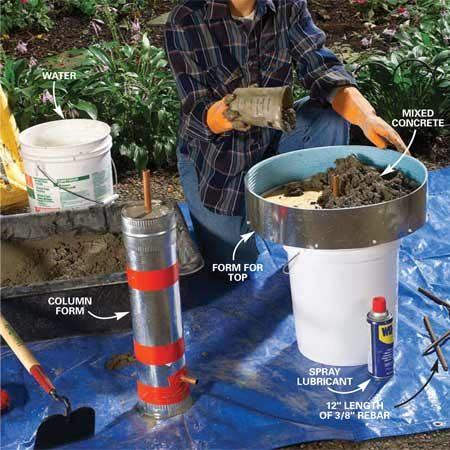 <b>Photo 6: Spray the forms, then add concrete</b></br> Coat the entire inside surface of both forms with a layer of oil (spray lubricant is easy to apply). Mix 1-1/2 bags of concrete mix to form a stiff, not runny, batch. Mix with a hoe for at least five minutes. Fill the tall cylinder while holding the pipe in the center. Tap the outside with a scrap of wood to settle the concrete and release trapped air. Fill the foam-lined top half-full. Lay 12-in. lengths of 3/8-in. reinforcing bar (rebar) in a tick-tack-toe pattern on top of the concrete. Continue adding concrete until it's flush to the top of the form.
