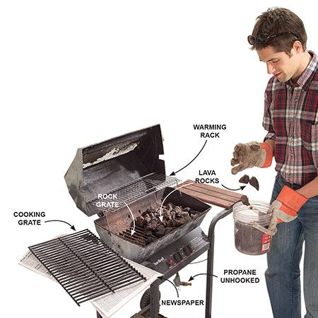 <b>Photo 1: Remove the grate and rocks</b></br> <p>Lift off the cooking grate and set it aside on newspaper. Scoop the lava rocks or ceramic briquettes into a bucket.</p>