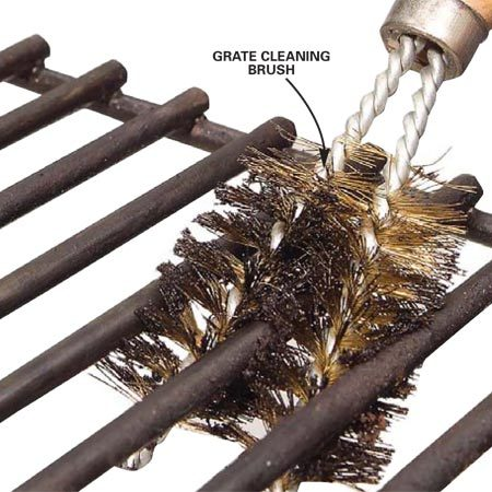 <b>Photo 12: Scrub the cooking grate</b></br> <p>Scrape the cooking grate with a wire brush or grate cleaning brush. Soak the grate with oven cleaner to remove stubborn buildup.</p>