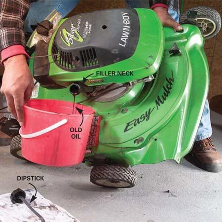 <b>Photo 3: Empty out the old oil</b></br> Remove the dipstick from the oil filler tube and tip the mower to drain the oil. Pour the used oil into a plastic milk jug or similar container and recycle it.