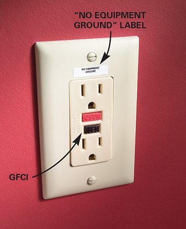 <b>GFCI </b></br> <p>A GFCI, which instantly switches off if there's a short circuit, may be used to replace a two-wire electrical outlet, but only if it's clearly labeled as ungrounded.</p>
