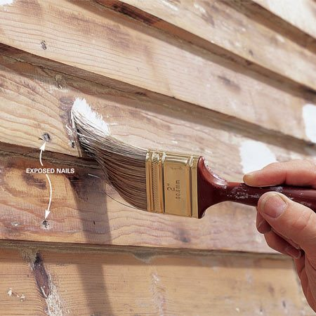 <b>Photo 1: Spot prime first</b></br> Spot-prime nailheads and knots with a special stain-blocking primer to prevent unsightly bleed-through from rust or wood resin. A pigmented shellac (BIN, for example) is a good product for this use.
