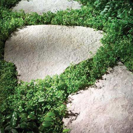 <b>Photo 3: Flagstones</b></br> Flagstones are larger,  irregular-shape  stones. They cost more than steppers but look more  dramatic and  are more stable  underfoot.