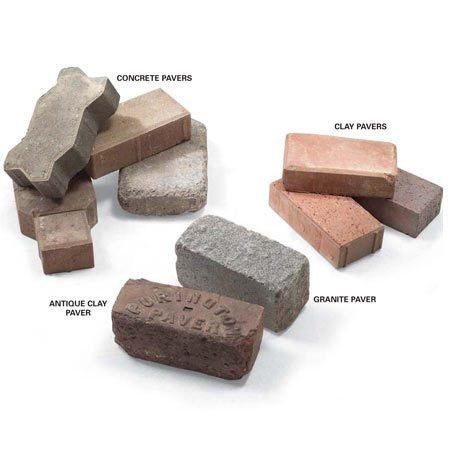 <b>Types of pavers</b></br> Pavers come in concrete, clay or granite.