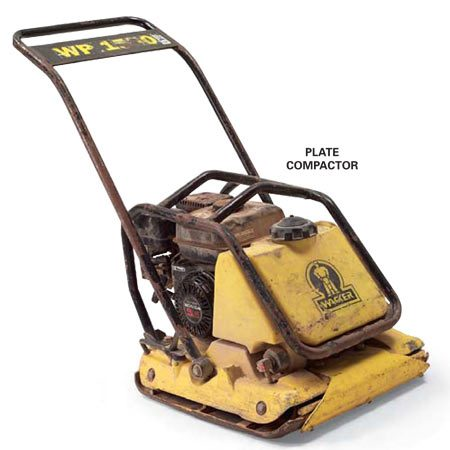 <b>Plate compactor</b></br> Use a plate compactor to compact and even out the gravel base and the pavers.