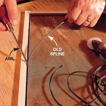 <b>Photo 1: Pry out the spline</b></br> Pry out the old spline with an awl or a narrow-tipped screwdriver. Throw it away—spline gets hard and brittle as it ages and shouldn't be reused.