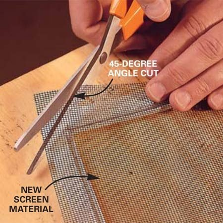 <b>Photo 3: Position the new screen</b></br> Lay the new screen material over the frame. It should overlap the frame by about 3/4 to 1 in. Cut each corner at a 45-degree angle just slightly beyond the spline groove. The cuts keep the screen from bunching in the corners.