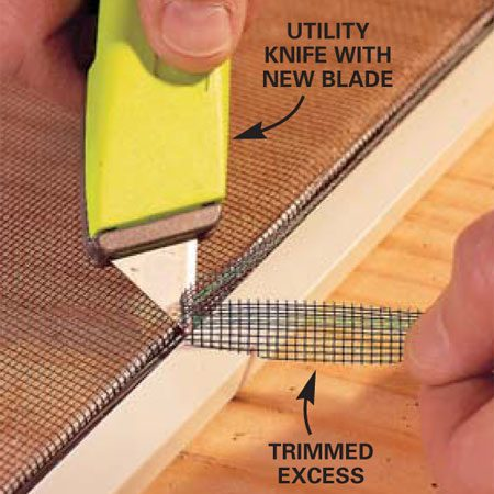 <b>Photo 5: Trim the screen</b></br> Trim excess screen material using a utility knife with a new sharp blade. A dull blade will pull the material, not cut it. Cut with the blade on top of the spline and pointed toward the outside of the frame.
