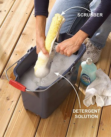 <b>Photo 1: Dip the scrubber</b></br> Dip the scrubber in a solution of 1 teaspoon dishwashing liquid to two gallons of water. Squeeze excess water from the scrubber.