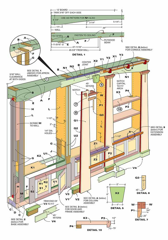 Figure A: Bookcase construction and details