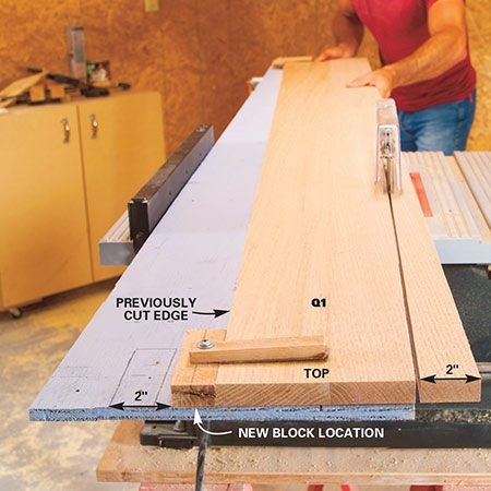 <b>Photo 16: Finish cutting the tapers</b></br> <p>Reposition the block in your jig and cut the opposite side of each blank. Always have the top of the blank at the tapered end of the jig and the wide base end even with the inner edge of the jig. Move the workpiece through, making sure the plywood is tight to the fence and have an outfeed stand to support the jig as it leaves the saw. Next, glue and finish-nail 3/4-in. x 1-1/4 in. strips (Q2) to the sides of each column as shown in Detail 4 to give the columns a heavier and deeper look. Once the glue is dry, sand them with 100-grit sandpaper followed by 150-grit sandpaper.</p>