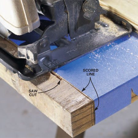 <b>Photo 2: Trimming close-up</b></br> Set the guide so that you cut slightly to the waste side of the scored cutting line. Lightly bevel the finished edges with sandpaper.