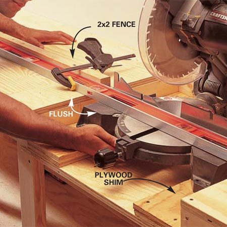 <b>Photo 6: Align and mount the miter saw</b></br> Cut wood shims to bring the miter saw table up flush with the bench top. Use a straightedge to line up the miter saw fence with the extended fence. Then mark the locations of the miter saw mounting holes and drill 5/32-in. pilot holes. Set the saw with two 3-in. x 1/4-in. lag screws with washers.