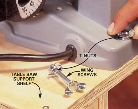 <b>Photo 9: Screw the table saw in place</b></br> Place the table saw in its permanent position on the table saw shelf. Mark the shelf through the front mounting holes of the table saw. Remove the saw and drill two 5/16-in. holes through the shelf and tap T-nuts into the hole on the underside of the shelf. Reposition the saw and secure it with wing screws.