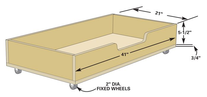 Under-bench roll-out drawers