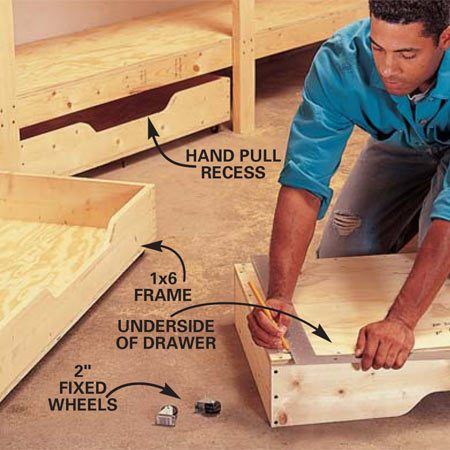 <b>Photo 10: Assemble the drawers</b><br/>Glue and screw the drawers according to Fig. C and use a carpenter's square to align fixed wheel positions on the underside of the drawers to ensure that they're parallel. Then the drawers will track properly during operation.