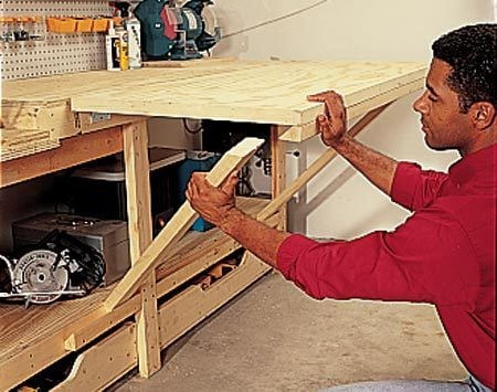 <b>Flip-up assembly table in action</b><br/>This assembly table is heavy and strong.