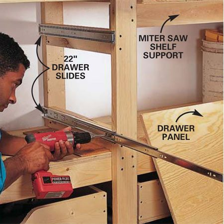 <b>Photo 13: Mount the drawer slides</b></br> Toenail a block to the top of the shelf and to the bottom of the rear rail of the bench in line with the front leg. Screw in two level support blocks against the bottom shelf plywood and 3-1/2 in. from the bottom of the workbench. Screw the fixed part of the drawer slides even with the tops of these blocks and even with the front of the bench leg.