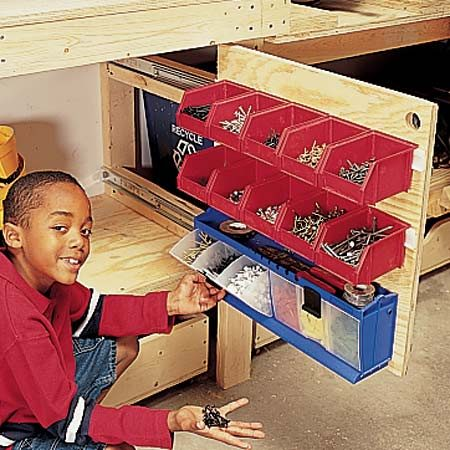 <b>Slide-out panel in action</b><br/>These panels hold bins of small stuff and keep them organized and close at hand.