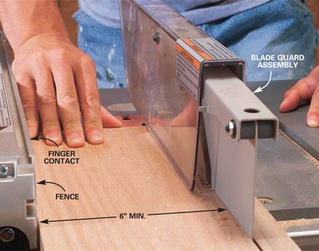 <b>Photo 2: Keep boards tight to the fence</b></br> <p>Hook your    thumb behind the board and keep your little finger in contact with the fence    to rip boards 6 in. and wider. Concentrate on keeping the edge of the board    in full contact with the fence while you push it through the blade at a slow,    steady rate. Push the board completely past the blade and kickback pawl. Then    switch off the saw, being careful to stay out of the path of the blade in    case the ripped board or cutoff piece catches in the blade and kicks back. </p>