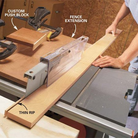 <b>Photo 5: Use extensions for thin rips</b></br> Clamp the L-shaped plywood extension to your fence. Adjust the fence to the desired ripping width. Rip the thin strip by guiding the board along the plywood fence extension.