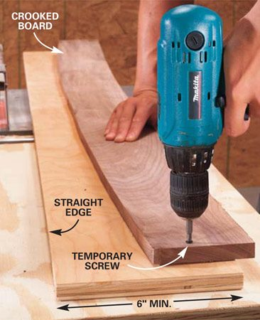 <b>Photo 7: Fasten the curved board to plywood</b></br> Rip a 6-in. wide strip from the straight factory edge of a sheet of plywood. Use screws or finish nails to temporarily attach the crooked board to the plywood strip. Keep the fasteners away from the edge where they might come in contact with the saw blade.
