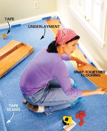 <b>Photo 5: Install the underlayment and the first row of flooring</b></br> Unroll the underlayment and lap it up the baseboards or walls 2 in. Temporarily secure the edges with masking tape. Butt the sheets together and seal the seams with the tape recommended by the manufacturer. Cut the first row of boards narrower if necessary to ensure that the last row of flooring will be at least 2 in. wide. Then start the installation by locking the ends of the first row of flooring together. Measure and cut the last piece to fit, allowing the 3/8-in. expansion space.