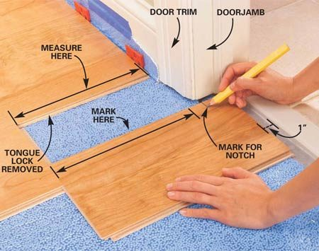 <b>Photo 10: Mark a plank to fit a doorjamb</b></br> Cut the plank to be notched to length, allowing a 1-in. space for the future transition piece. Align the end with the end of the last plank laid and mark 3/8 in. inside the jamb to make sure the flooring extends under the door trim.