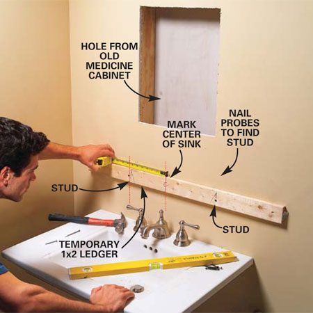 <b>Photo 1: Attach a ledger board and mark the stud locations</b></br> Mark the height of the bottom of the cabinet and draw a line with a 2-ft. level. Find the studs by probing with a nail and mark the stud positions above the level line. Screw a temporary 1x2 ledger board through the drywall into the studs. Mark the center of the sink on the ledger, and then measure over from the center mark to the left and right studs.