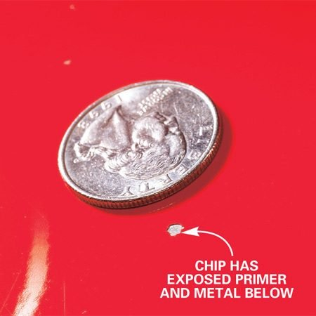 <b>Fix small chips</b></br> This is a typical rock chip that you can fix with this procedure. In fact, even if the chip is about one-fourth the size of a dime, you can still repair it.