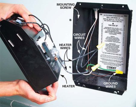 <b>Photo 6: Install the heater  </b></br> Strip 5/8 in. of insulation from each wire's end, then connect the black and taped white wires to the black heater wires using wire connectors. Connect the cable's bare ground wire to the green heater ground wire. Push the heater into the can and fasten it. Install the cover grille.