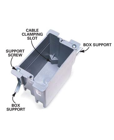 "<b>Photo 8: Remodeling switch box</b></br> A ""remodeling"" switch box is ideal for the thermostat. Cut the drywall to precisely fit the box, push the stripped cables through the bottom cable clamping slots, then slip the box into the wall. Turn the two support screws until the supports are tight against the drywall."