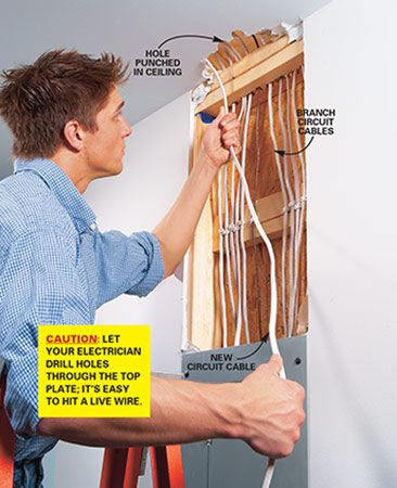 <b>Photo 11: Pull cables to service panel</b></br>  Punch a hole in the ceiling to expose the top plate and electric cables. Pull the cable from the thermostat through the hole and let it hang to the floor. At this point, hire an electrician to finish the hookup to the service panel.