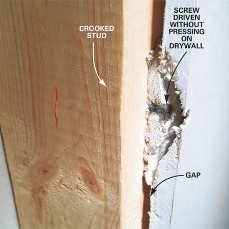 <b>Close up</b></br> Screws will pop through the drywall if there is a gap between the stud and the drywall. Pushing the drywall tight and fastening several screws in the area will solve the problem.