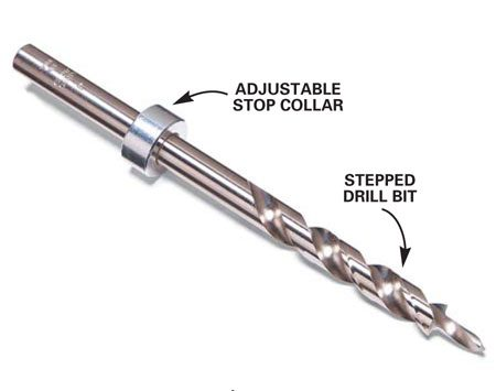 <b>Special drill bit</b></br> The pocket screw drill bit is stepped to simultaneously drill two different diameter holes. The stop color is the depth adjustment.