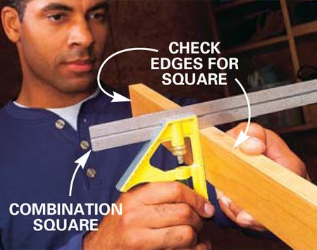 <b>Photo 2: Square board edges and ends</b></br> Check to make sure the edges of the boards are square to the face. Also check the end cuts to make sure your miter box is properly adjusted to make perfectly square cuts.