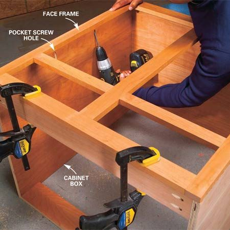 <b>Photo 5: Cabinet box technique</b></br> Assemble cabinet boxes with pocket screws by using the jig and drilling pocket holes every 8 to 12 in. along the edge of the plywood. Then glue, align and clamp the parts and screw them together. For a neater appearance, buy custom-shaped wood plugs to fill the pocket holes.