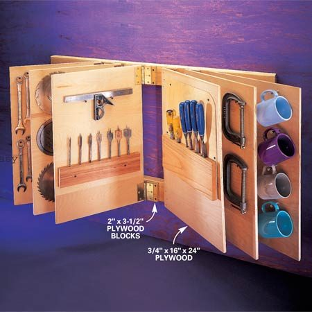 """<b>Flip-through tool storage</b></br> Plywood """"leaves"""" swing from standard door hinges, allowing quick and easy access to tools."""