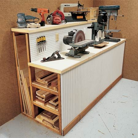 <b>Workbench with lumber storage space</b></br> This simple workbench doubles as a storage rack for those long pieces of lumber and plywood that tend to clutter your workshop.