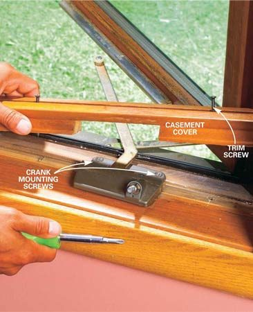 <b>Photo 3: Remove the trim and crank</b></br> Back out the trim screws and lift the casement cover off the window jamb. Remove all crank mounting screws and lift off the crank. Replace rusted or bent trim screws.