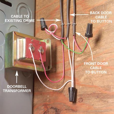 <b>Wiring at the transformer</b></br> When attaching the new chime at the transformer, connect the new wires to the same wires and screws that the wires from the old chime are connected to.