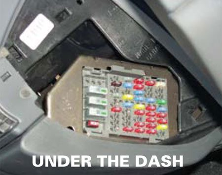 <b>Under the dash</b></br> Some types of cars locate the fuse box under the dash, beneath the side kick panels or under the rear seat.